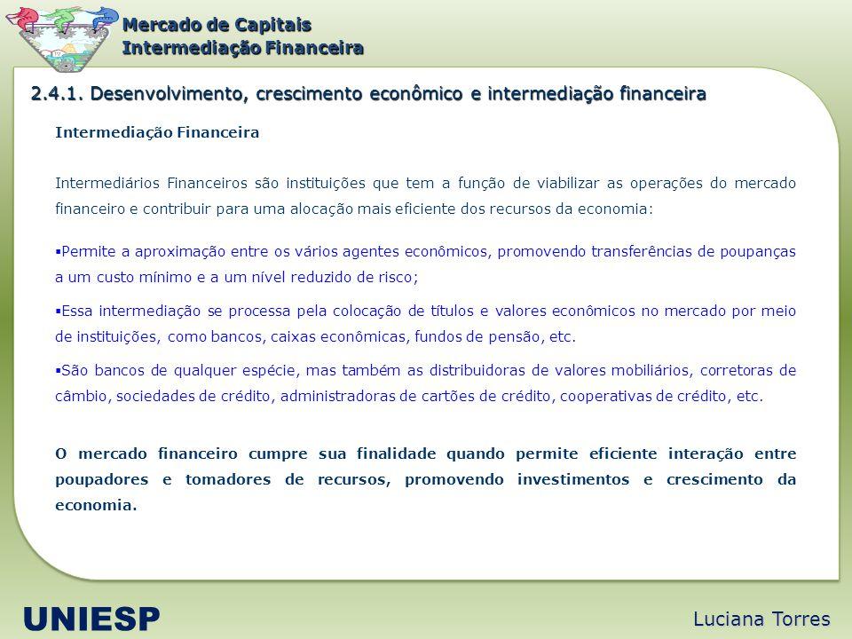 Mercado de Capitais Intermediação Financeira. 2.4.1. Desenvolvimento, crescimento econômico e intermediação financeira.