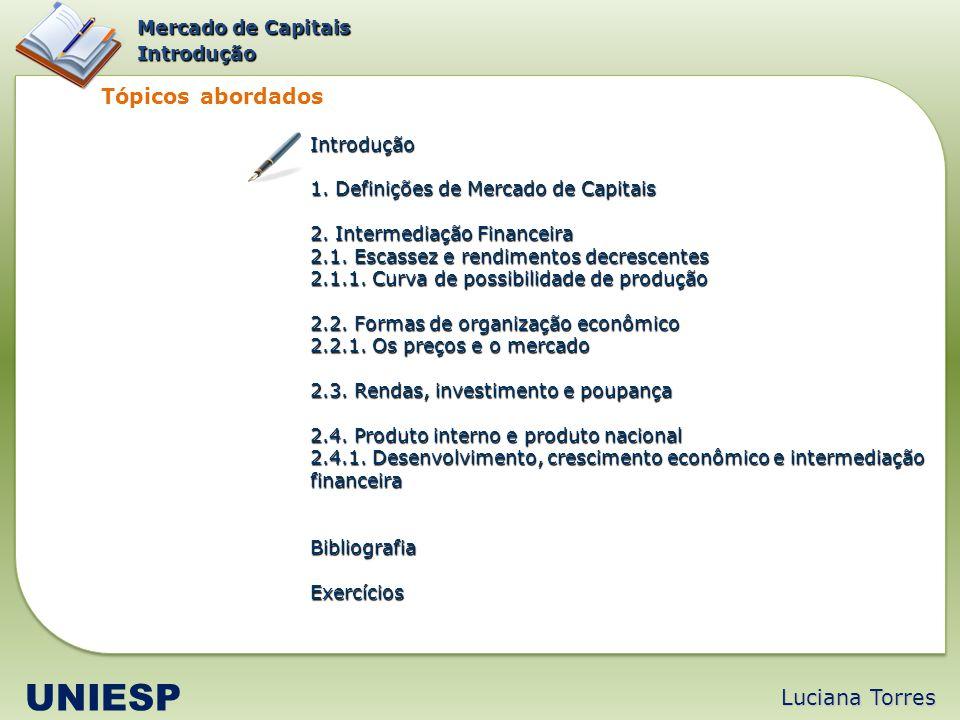 UNIESP Tópicos abordados Luciana Torres Mercado de Capitais Introdução