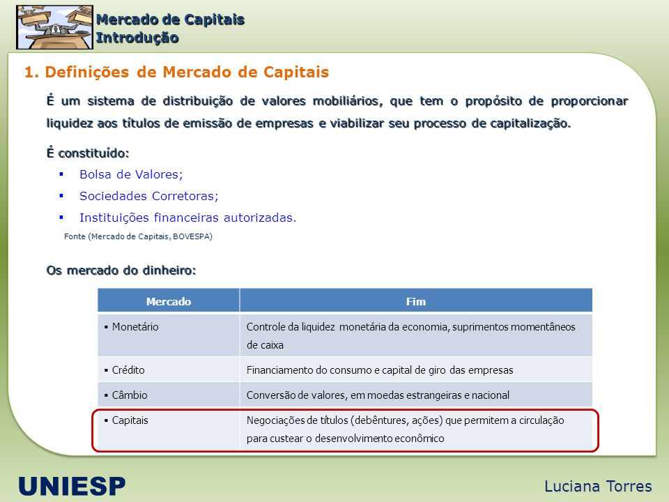 UNIESP 1. Definições de Mercado de Capitais Luciana Torres