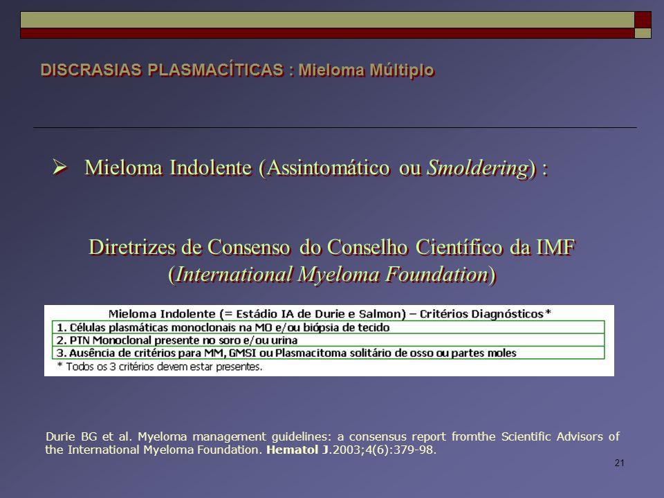 Mieloma Indolente (Assintomático ou Smoldering) :