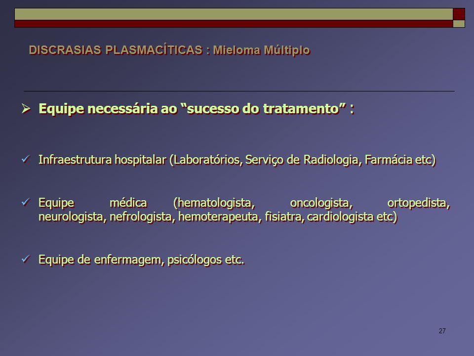 Equipe necessária ao sucesso do tratamento :