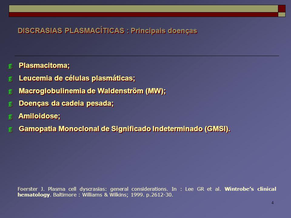DISCRASIAS PLASMACÍTICAS : Principais doenças