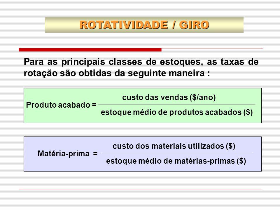 ROTATIVIDADE / GIRO Para as principais classes de estoques, as taxas de rotação são obtidas da seguinte maneira :
