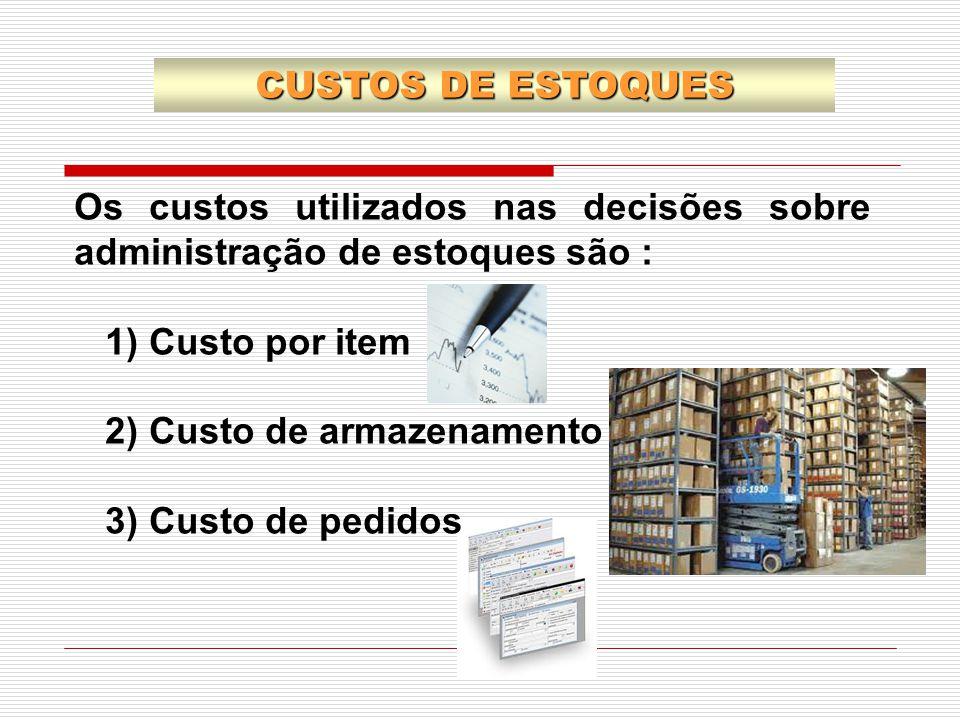CUSTOS DE ESTOQUES Os custos utilizados nas decisões sobre administração de estoques são : 1) Custo por item.