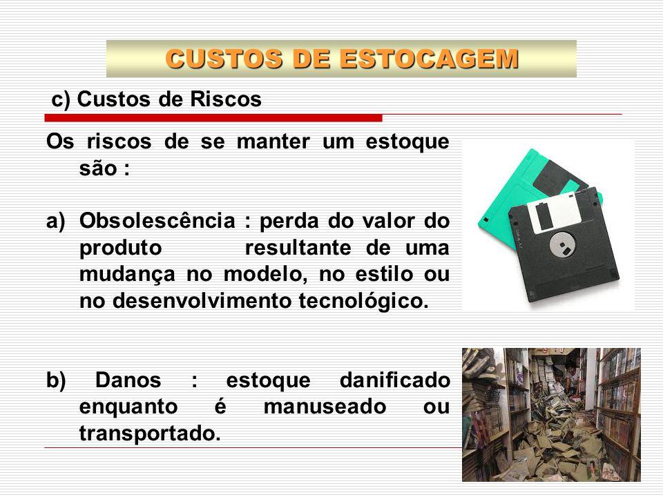 CUSTOS DE ESTOCAGEM c) Custos de Riscos