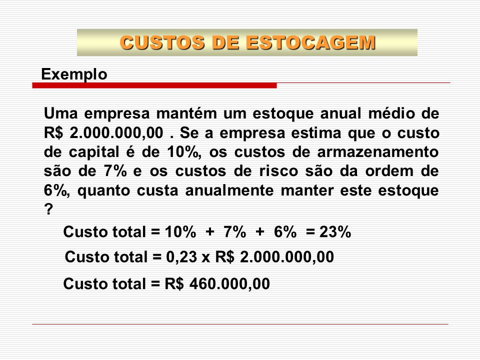 CUSTOS DE ESTOCAGEM Exemplo
