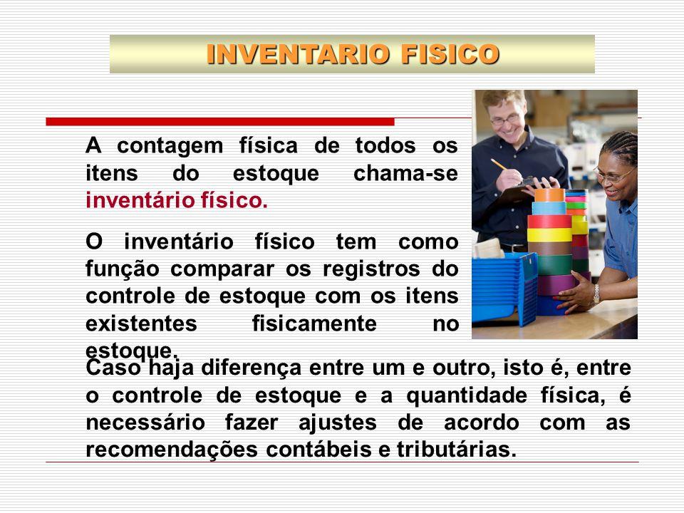 INVENTARIO FISICO A contagem física de todos os itens do estoque chama-se inventário físico.