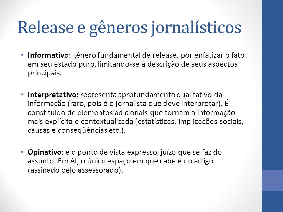 Release e gêneros jornalísticos