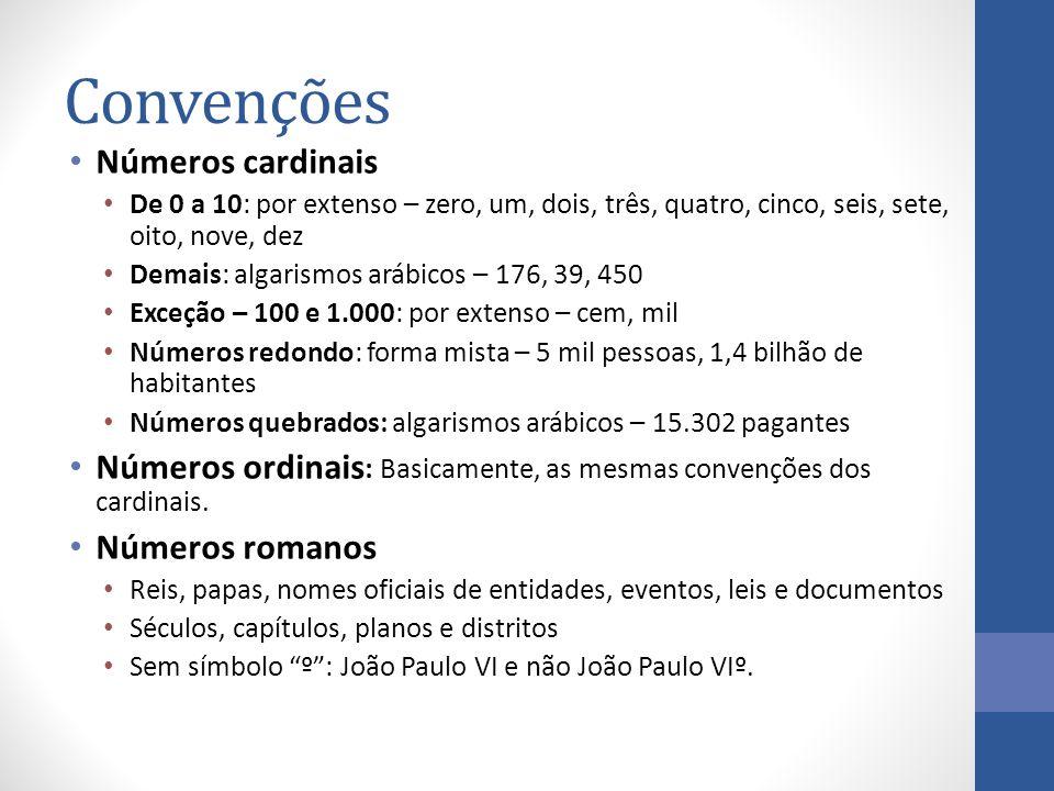 Convenções Números cardinais