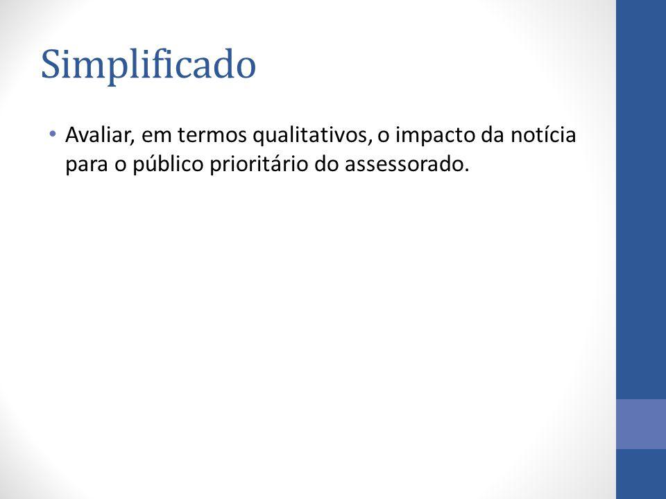 Simplificado Avaliar, em termos qualitativos, o impacto da notícia para o público prioritário do assessorado.