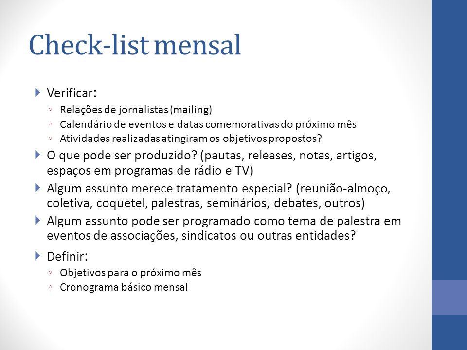 Check-list mensal Verificar:
