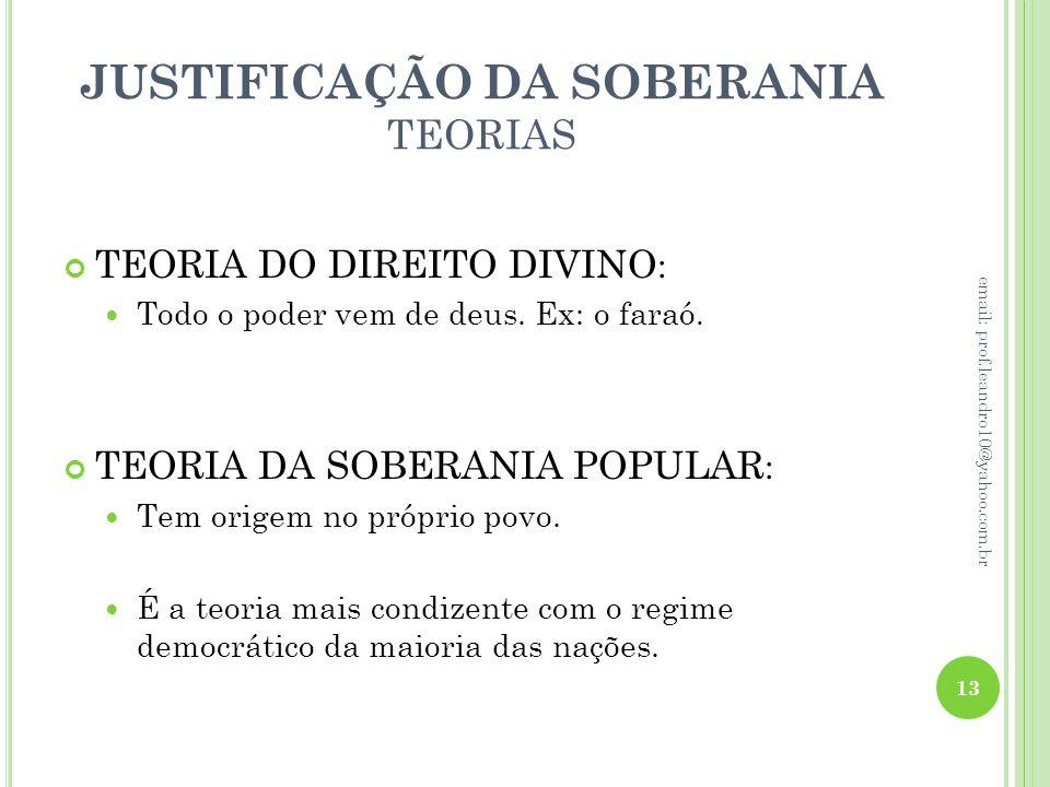 JUSTIFICAÇÃO DA SOBERANIA TEORIAS