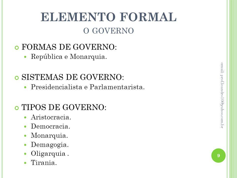 ELEMENTO FORMAL o governo