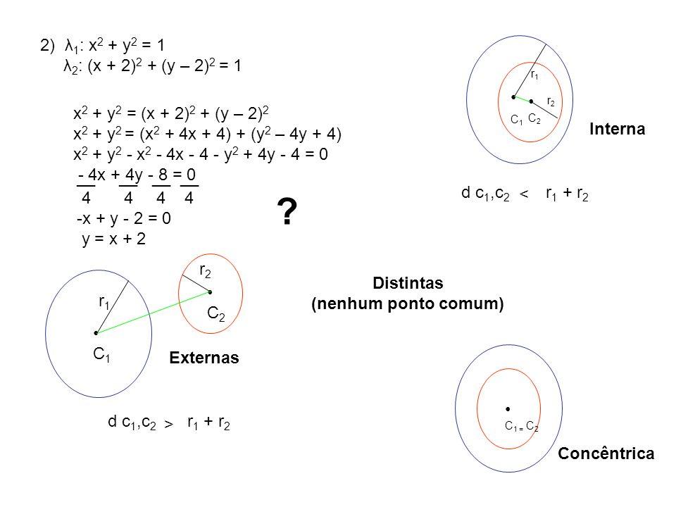 2) λ1: x2 + y2 = 1 λ2: (x + 2)2 + (y – 2)2 = 1 • •