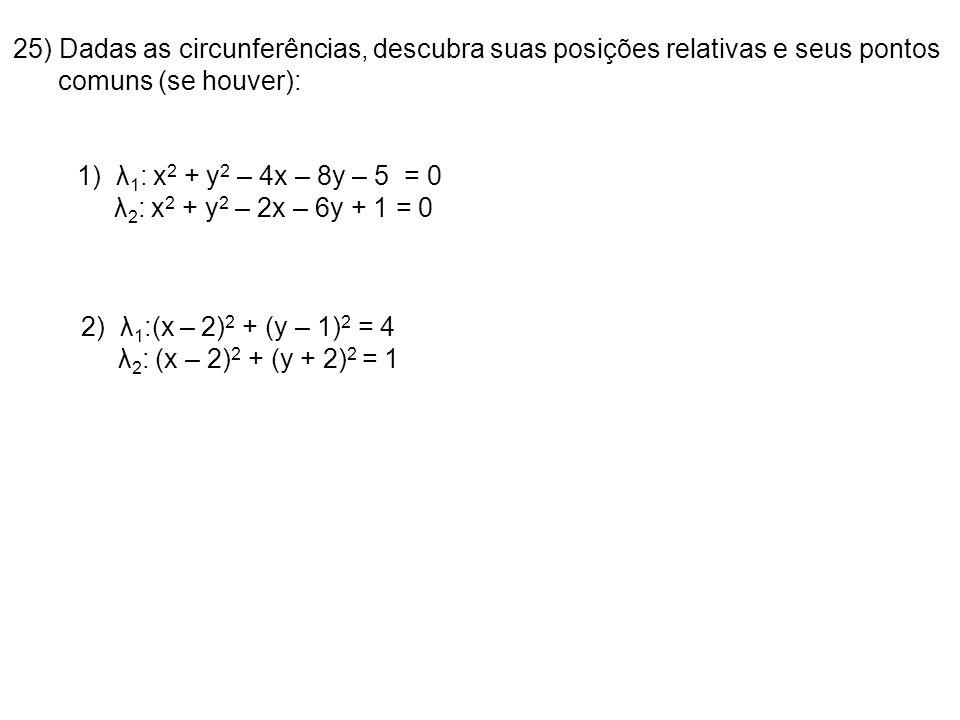 25) Dadas as circunferências, descubra suas posições relativas e seus pontos