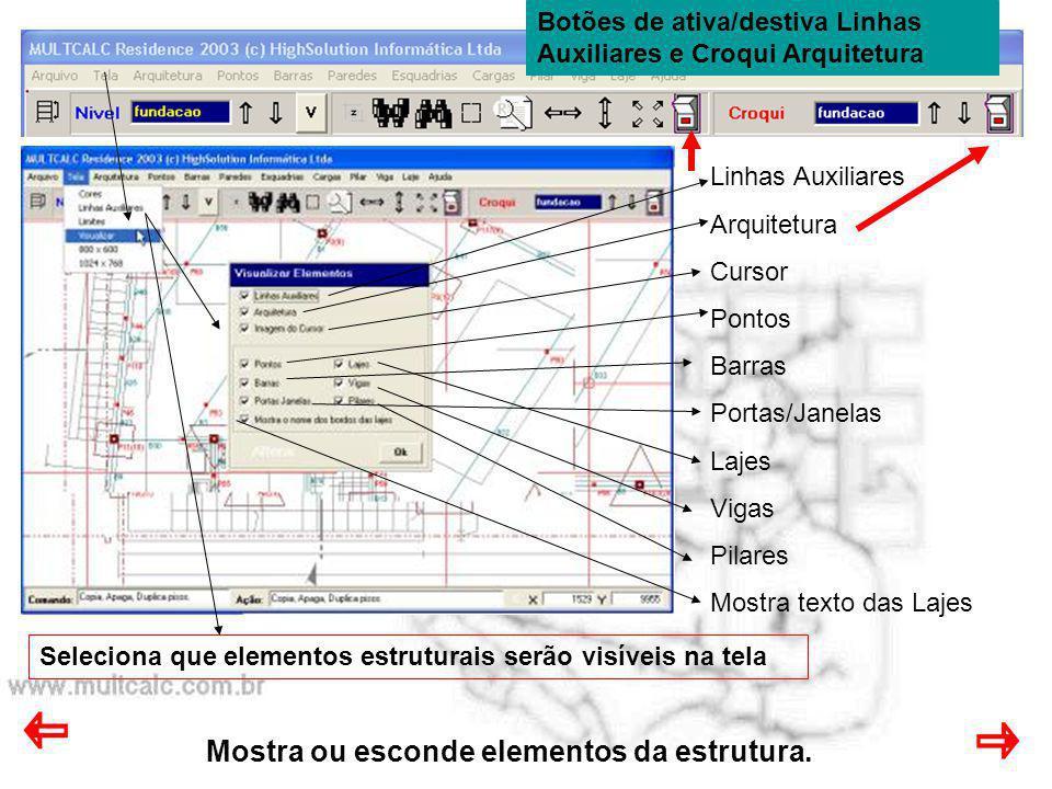 Mostra ou esconde elementos da estrutura.