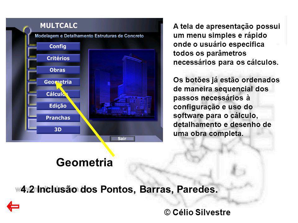 Geometria 4.2 Inclusão dos Pontos, Barras, Paredes. © Célio Silvestre