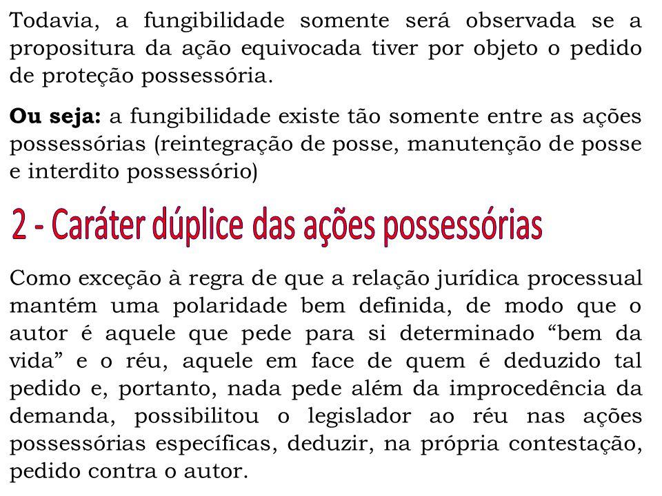 2 - Caráter dúplice das ações possessórias