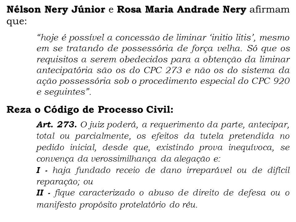 Nélson Nery Júnior e Rosa Maria Andrade Nery afirmam que: