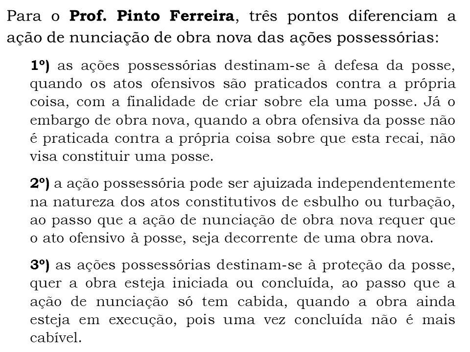 Para o Prof. Pinto Ferreira, três pontos diferenciam a ação de nunciação de obra nova das ações possessórias: