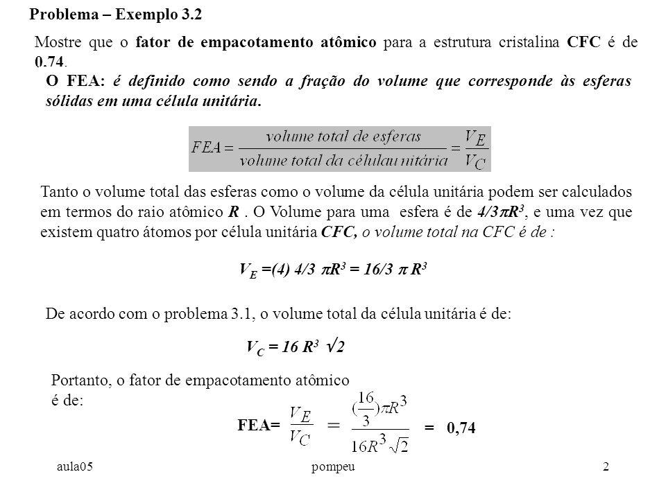 Problema – Exemplo 3.2 Mostre que o fator de empacotamento atômico para a estrutura cristalina CFC é de 0,74.