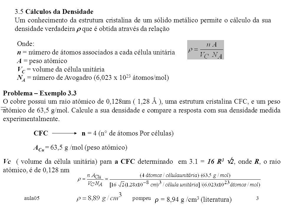 n = número de átomos associados a cada célula unitária