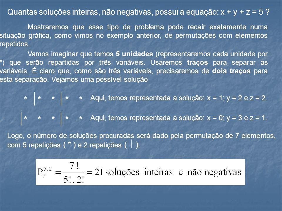 Quantas soluções inteiras, não negativas, possui a equação: x + y + z = 5