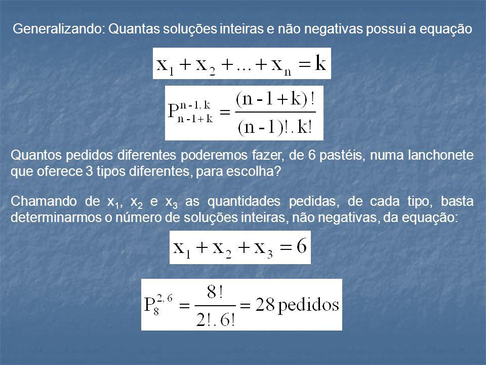 Generalizando: Quantas soluções inteiras e não negativas possui a equação