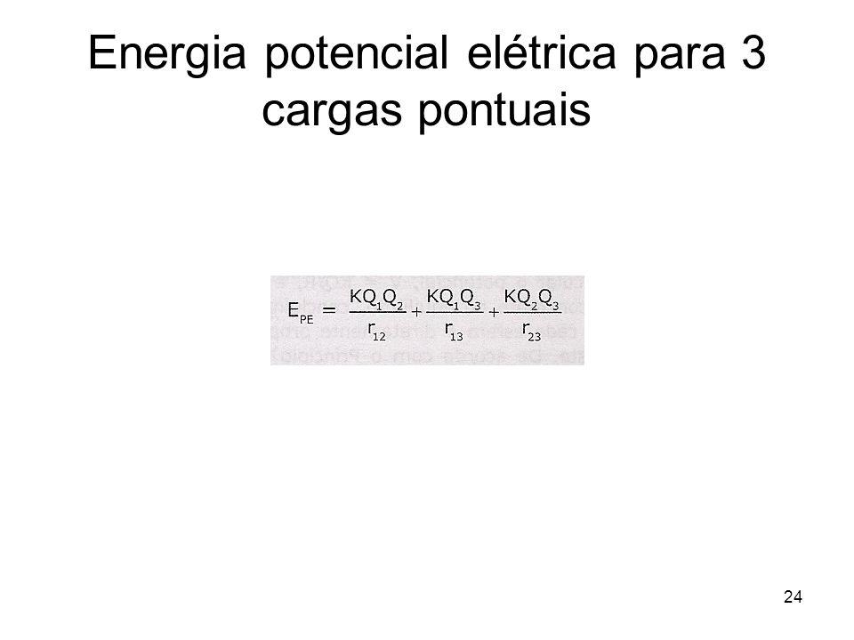 Energia potencial elétrica para 3 cargas pontuais