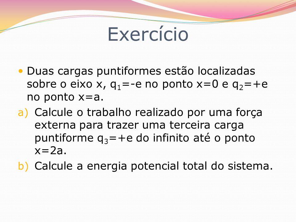 Exercício Duas cargas puntiformes estão localizadas sobre o eixo x, q1=-e no ponto x=0 e q2=+e no ponto x=a.