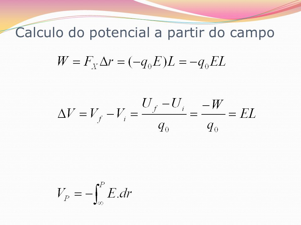 Calculo do potencial a partir do campo