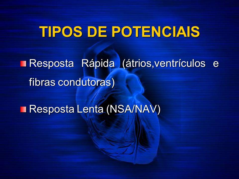 TIPOS DE POTENCIAIS Resposta Rápida (átrios,ventrículos e fibras condutoras) Resposta Lenta (NSA/NAV)