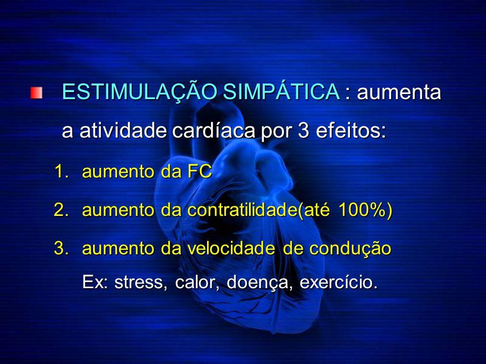 ESTIMULAÇÃO SIMPÁTICA : aumenta a atividade cardíaca por 3 efeitos: