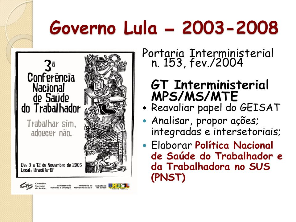Governo Lula – 2003-2008 GT Interministerial MPS/MS/MTE