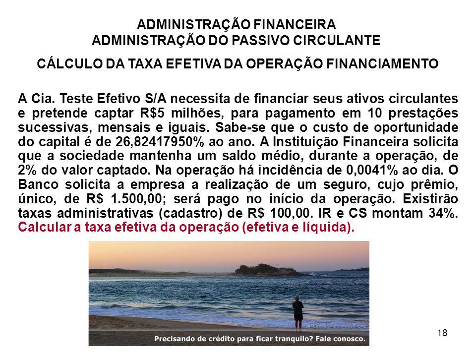 CÁLCULO DA TAXA EFETIVA DA OPERAÇÃO FINANCIAMENTO