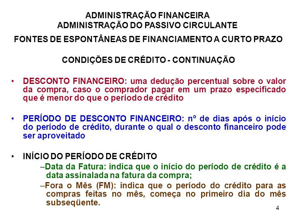 FONTES DE ESPONTÂNEAS DE FINANCIAMENTO A CURTO PRAZO