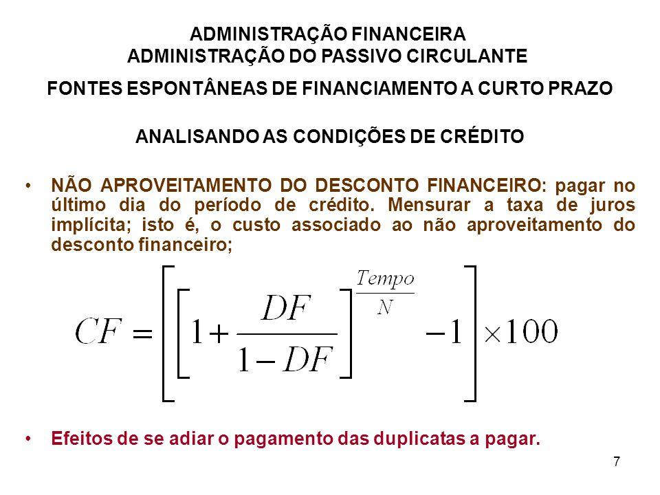 FONTES ESPONTÂNEAS DE FINANCIAMENTO A CURTO PRAZO