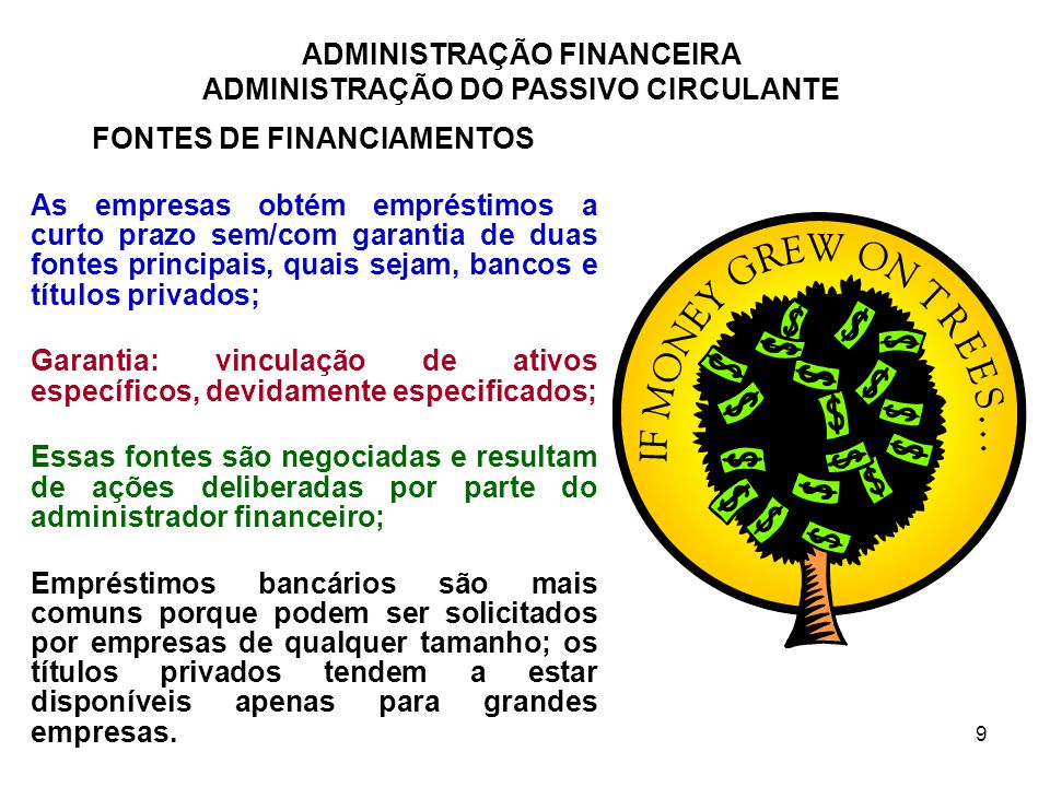 FONTES DE FINANCIAMENTOS