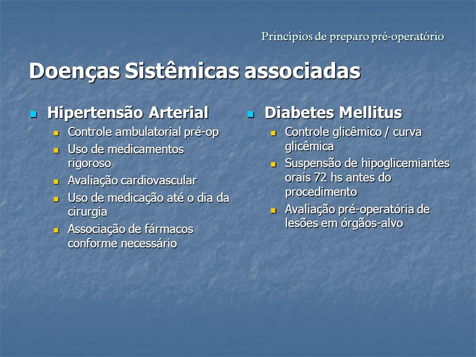Princípios de preparo pré-operatório Doenças Sistêmicas associadas