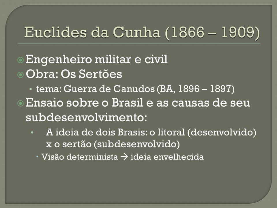 Euclides da Cunha (1866 – 1909) Engenheiro militar e civil