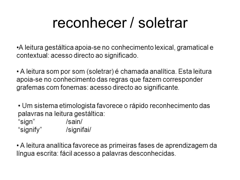 reconhecer / soletrar A leitura gestáltica apoia-se no conhecimento lexical, gramatical e contextual: acesso directo ao significado.