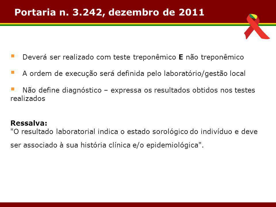 Portaria n. 3.242, dezembro de 2011 Deverá ser realizado com teste treponêmico E não treponêmico.