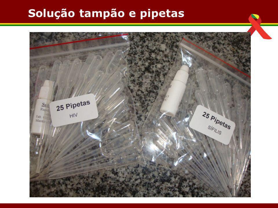 Solução tampão e pipetas