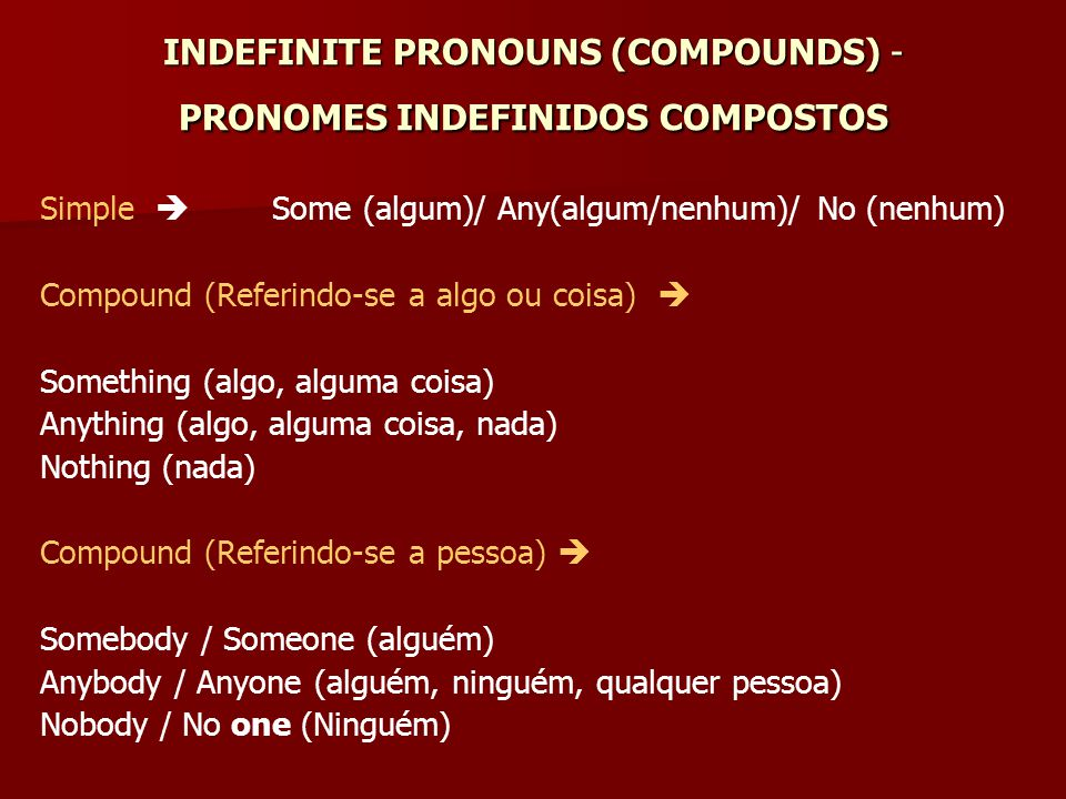 INDEFINITE PRONOUNS (COMPOUNDS) - PRONOMES INDEFINIDOS COMPOSTOS