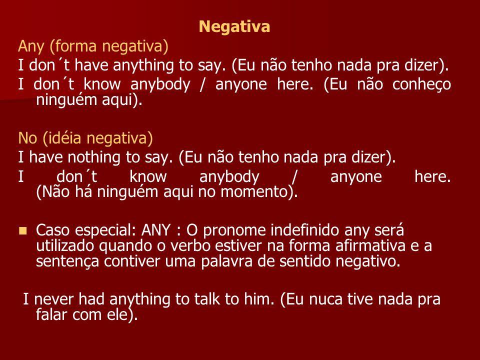 Negativa Any (forma negativa) I don´t have anything to say. (Eu não tenho nada pra dizer).