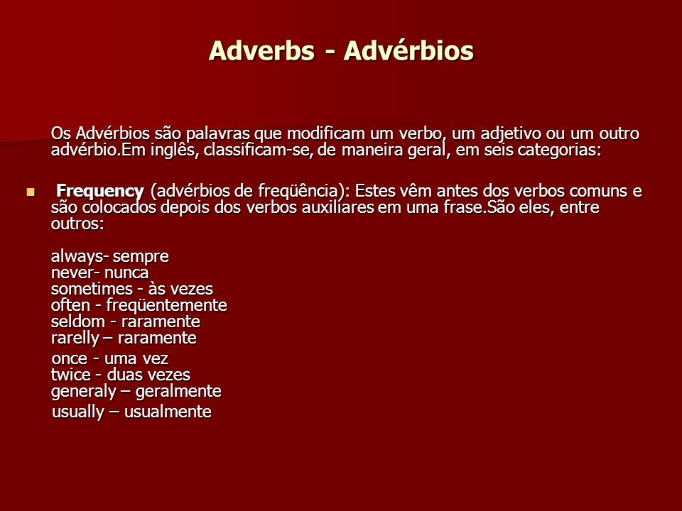 Adverbs - Advérbios