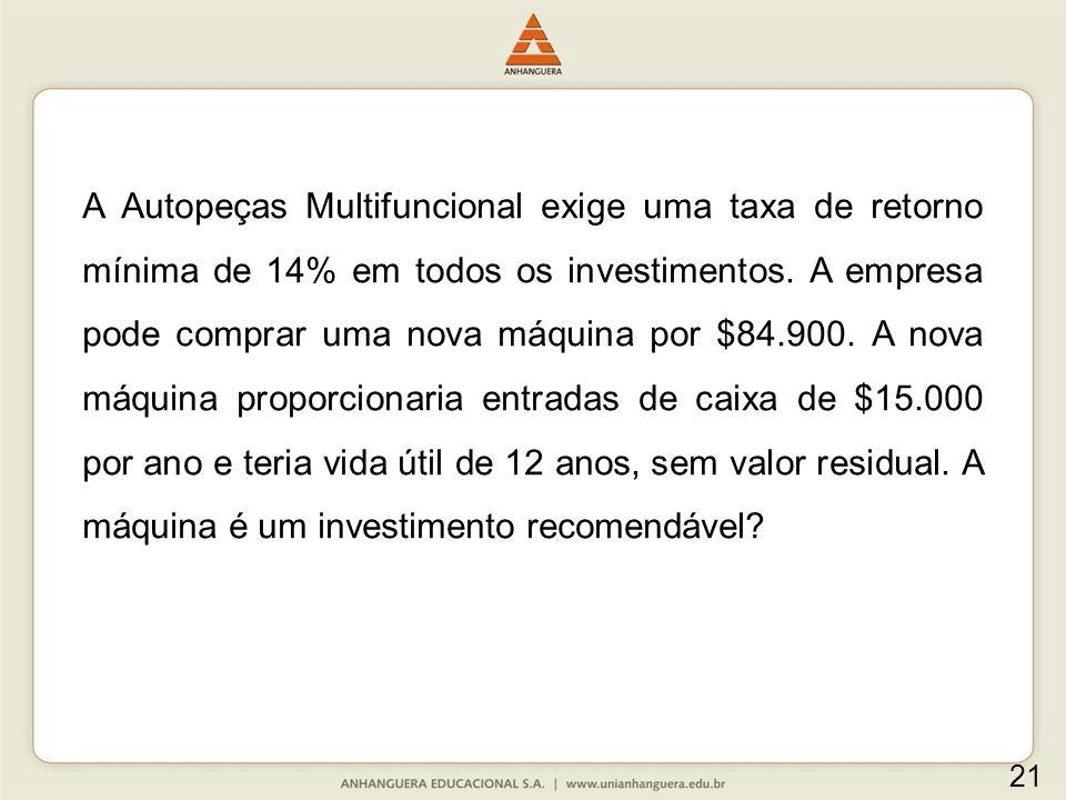 A Autopeças Multifuncional exige uma taxa de retorno mínima de 14% em todos os investimentos.