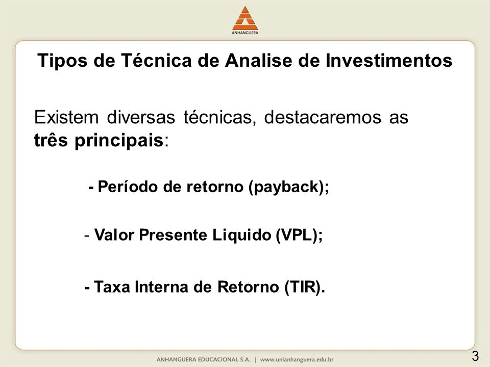 Tipos de Técnica de Analise de Investimentos