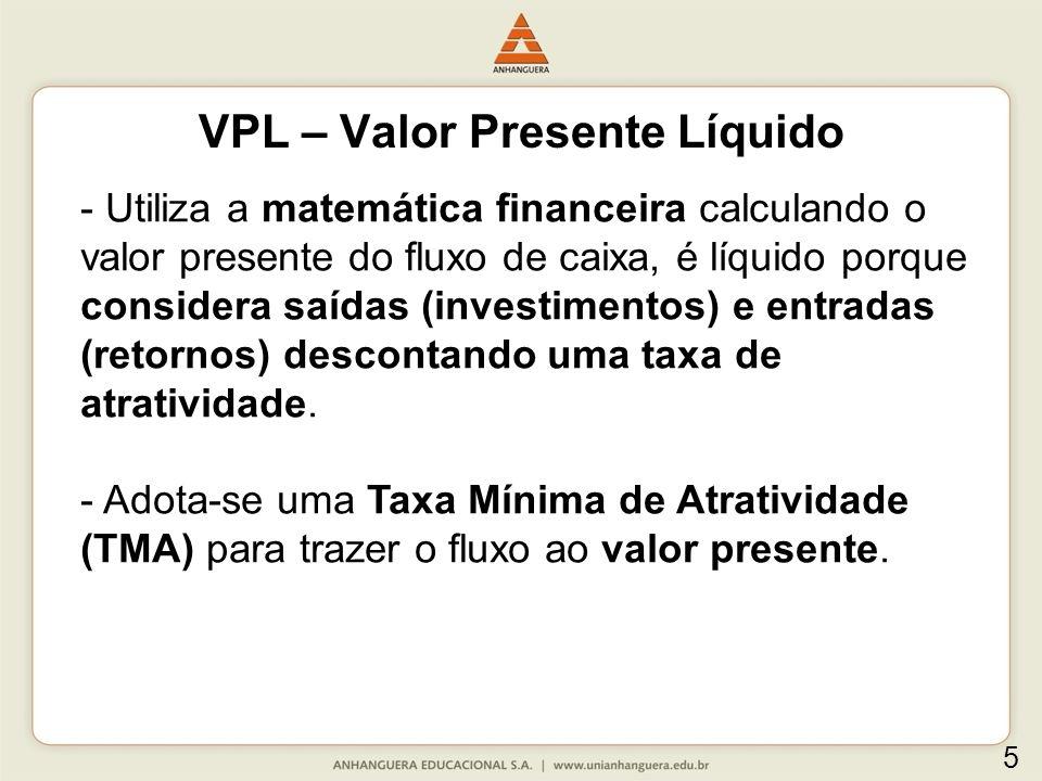 VPL – Valor Presente Líquido