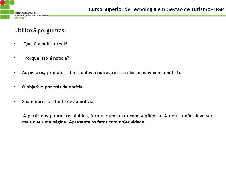 Curso Superior de Tecnologia em Gestão de Turismo - IFSP